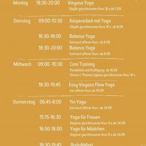 YOGA & TRAININGSKURSPLAN Wintersemester 2020/21