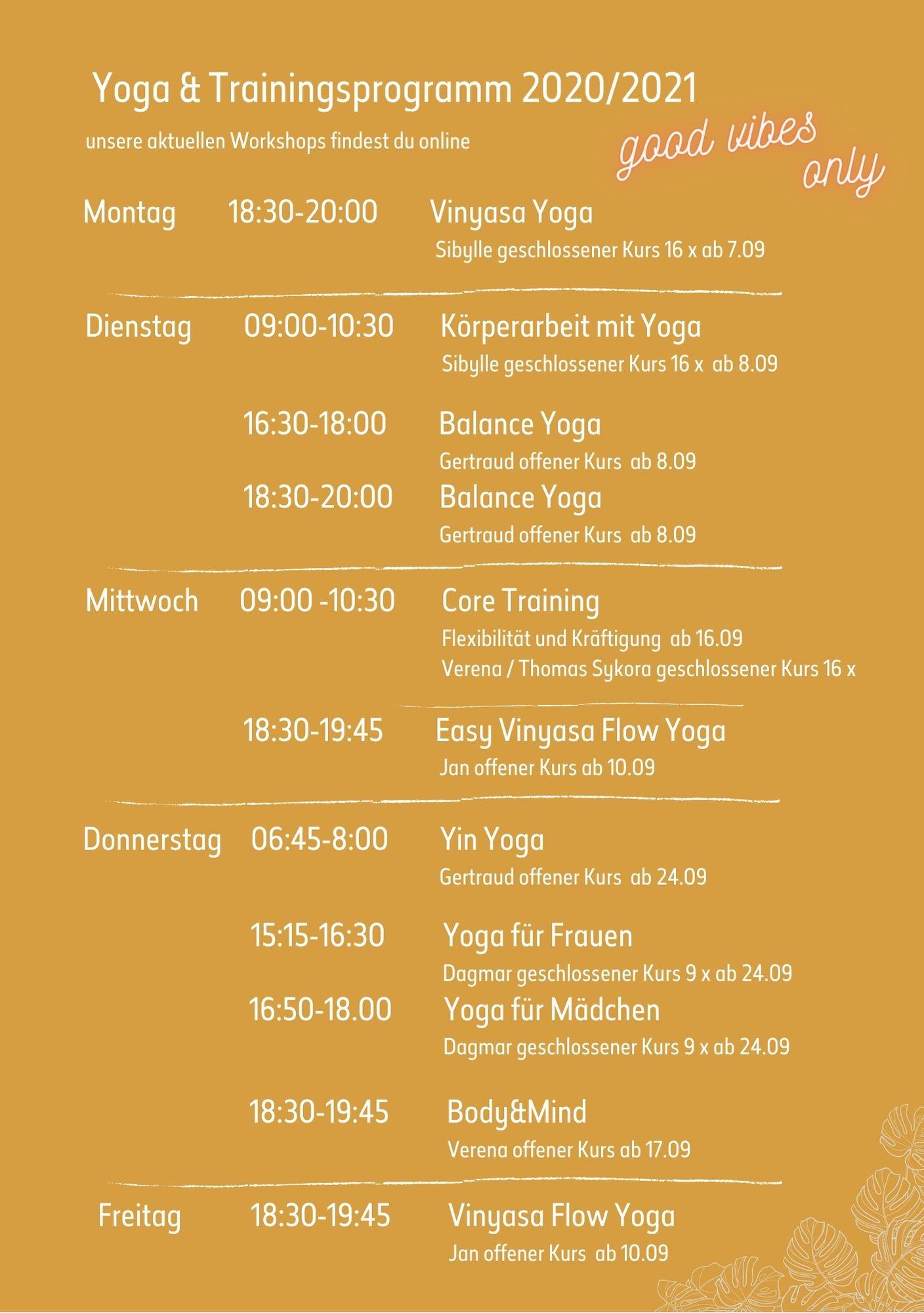 Yoga & Trainingskursplan 2020/21