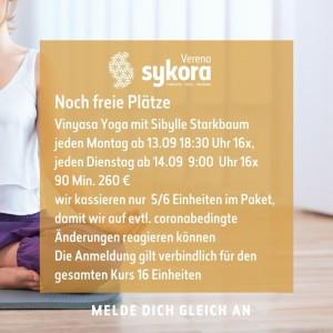 Noch freie Plätze Vinyasa Yoga geschlossener Kurs